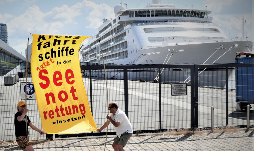 Spontane Aktion im Hamburger Hafen am 22.6.
